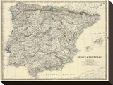 Spain, Portugal, c.1861 Stretched Canvas Print by Alexander Keith Johnston