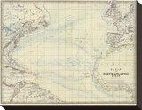 North Atlantic Ocean, c.1861 Stretched Canvas Print by Alexander Keith Johnston