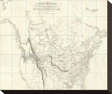 New Discoveries in the Interior Parts of North America, c.1814 Stretched Canvas Print by Aaron Arrowsmith