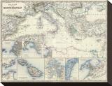 Mediterranean Basin, c.1861 Stretched Canvas Print by Alexander Keith Johnston