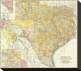Railroad And County Map Of Texas, c.1882 Stretched Canvas Print