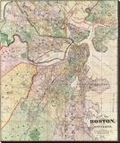 Map of the City of Boston and its Environs, c.1874 Stretched Canvas Print by G. M. Hopkins