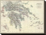 Greece, c.1861 Stretched Canvas Print by Alexander Keith Johnston