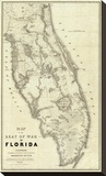 Map of the Seat of War in Florida, c.1838 Stretched Canvas Print by Washington Hood