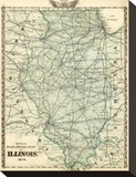 Official Railroad Map of the State of Illinois, c.1876 Stretched Canvas Print by  Warner & Beers