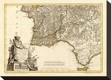 Portugal, Algarve Meridionale, c.1780 Stretched Canvas Print by Giovanni Antonio Bartolomeo Rizzi Zannoni