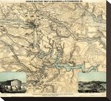 Hughes Military Map of Richmond and Petersburgh, Virginia, c.1864 Stretched Canvas Print by W.c. Major Hughes