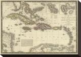 Iles Antilles ou des Indes Occidentales, c.1828 Stretched Canvas Print by Adrien Hubert Brue