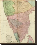 Composite: India Peninsula, c.1800 Stretched Canvas Print by William Faden
