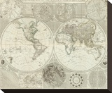 Composite: World or Terraqueous Globe, c.1787 Stretched Canvas Print by Samuel Dunn
