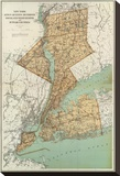 New York: Kings, Queens, Richmond, Rockland, Westchester, Putnam Counties, c.1895 Stretched Canvas Print by Joseph Rudolf Bien