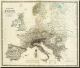 Mountains of Europe, c.1854 Stretched Canvas Print by Alexander Keith Johnston