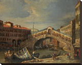 Venice Bridge Stretched Canvas Print by  Stanley