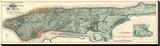 Sanitary and Topografische Karte von the City and Island of New York, c.1865 Bedruckte aufgespannte Leinwand von Egbert L. Viele