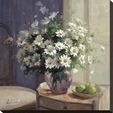 Marguerites Et Pommes Vertes Stretched Canvas Print by  Lilian