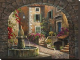 Fountain de Village Stretched Canvas Print by Sung Kim