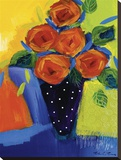 Spring Blooms In Blue Vase I Stretched Canvas Print by Natasha Barnes