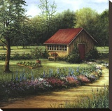 Garden Cottage Stretched Canvas Print by Lene Alston Casey