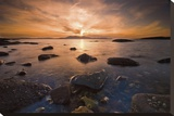 Tidepool at Sunset Stretched Canvas Print by Robert Strachan