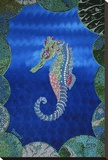 Seahorse on Blue Stretched Canvas Print by  Rogest
