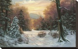Snow Covered Morning Stretched Canvas Print by Egidio Antonaccio