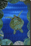 Turtle on Blue Stretched Canvas Print by  Rogest