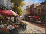 Flower Market Cafe Impressão em tela esticada por Han Chang