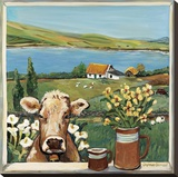 Cow in Window Reproduction sur toile tendue par Suzanne Etienne