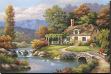Cottage Stream Stretched Canvas Print by Sung Kim
