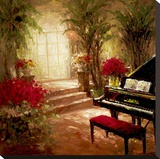 Illuminated Music Room Stretched Canvas Print by  Foxwell