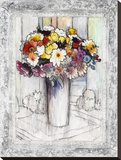 Bordered Bouquet I Stretched Canvas Print by Hooshang Khorasani