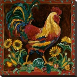 Rooster Rustic Stretched Canvas Print by Suzanne Etienne
