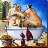 Couple Bathing Stretched Canvas Print by Ronald West