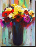 Flowers in a Vase III Stretched Canvas Print by Hooshang Khorasani