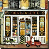 Boulangerie and Red Scooter Stretched Canvas Print by Suzanne Etienne