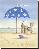 Sandcastles by the Sea Stretched Canvas Print by Katharine Gracey