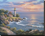 Sunset at Lighthouse Point Stretched Canvas Print by Sung Kim