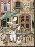 Chef at Market Stretched Canvas Print by Betty Whiteaker