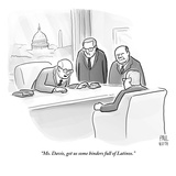 """Ms. Davis, get us some binders full of Latinos."" - New Yorker Cartoon Premium Giclee Print by Paul Noth"