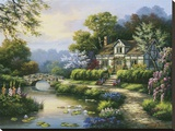 Swan Cottage II Stretched Canvas Print by Sung Kim