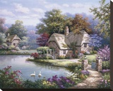Swan Cottage I Stretched Canvas Print by Sung Kim