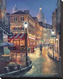Night Stroll Stretched Canvas Print by Sung Kim