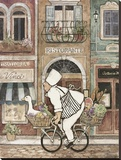 Chef on Bike Stretched Canvas Print by Betty Whiteaker