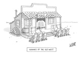 A roll of strollers sits outside an old west saloon. - New Yorker Cartoon Premium Giclee Print by Glen Le Lievre