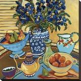 Blue and White with Oranges Impressão em tela esticada por Suzanne Etienne