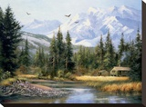 Cabin in the Foothills Stretched Canvas Print by Bernard Willington