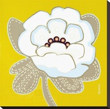 White Pop Flower Stretched Canvas Print by Monica Kuchta