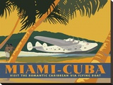 Miami to Cuba Stretched Canvas Print by David Grandin