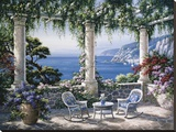 Mediterranean Terrace Stretched Canvas Print by Sung Kim