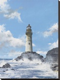 Lighthouse on the Rocks Stretched Canvas Print by Robert G. Radcliffe